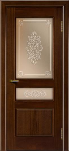 Двери ЛайнДор Калина красное дерево тон 10 стекло Дамаск бронза