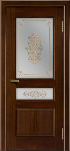 Двери ЛайнДор Калина красное дерево тон 10 стекло Дамаск