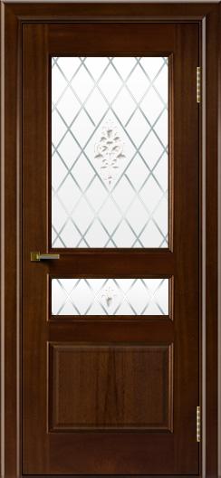 Двери ЛайнДор Калина красное дерево тон 10 стекло Лилия