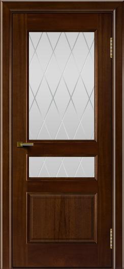 Двери ЛайнДор Калина красное дерево тон 10 стекло Лондон
