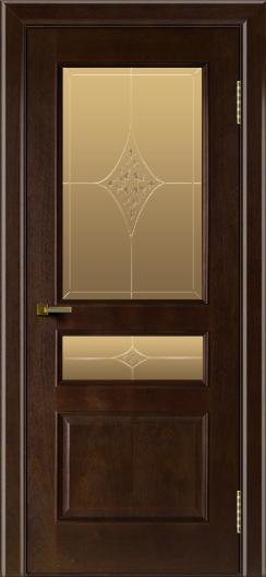 Двери ЛайнДор Калина красное дерево тон 18 стекло Гелиос