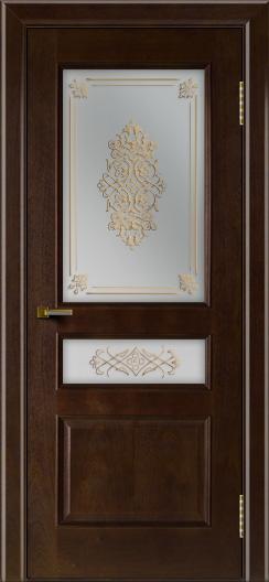 Двери ЛайнДор Калина красное дерево тон 18 стекло Дамаск