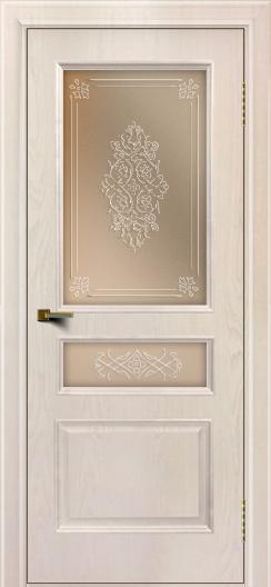 Двери ЛайнДор Калина ясень жемчуг тон 27 стекло Дамаск бронза