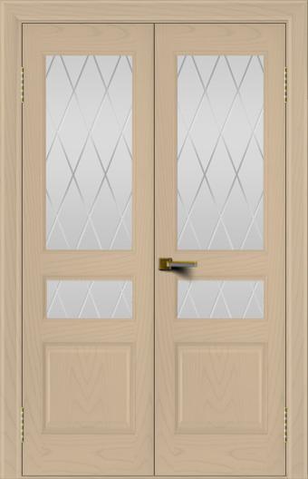 Двери ЛайнДор Калина ясень тон 3 двухстворчатая стекло Лондон