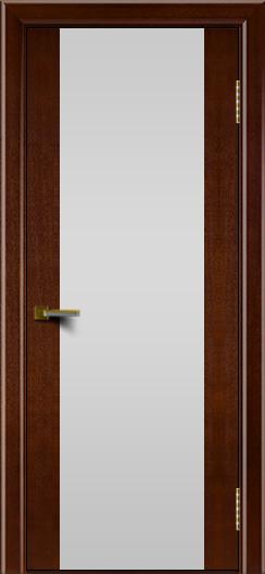 Двери ЛайнДор Камелия К американский орех тон 19 стекло Белое
