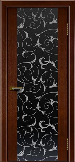 Двери ЛайнДор Камелия К американский орех тон 19 стекло Кружева