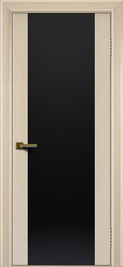 Двери ЛайнДор Камелия К беленый дуб тон 16 стекло Черное