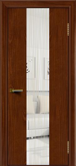 Двери ЛайнДор Камелия К 4 красное дерево тон 10 стекло Водопад