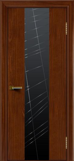Двери ЛайнДор Камелия К 4 красное дерево тон 10 стекло Графит
