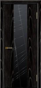 Двери ЛайнДор Камелия К 4 черная эмаль тон 26 стекло Графит