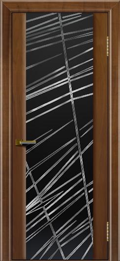 Двери ЛайнДор Камелия американский орех тон 23 стекло Графит