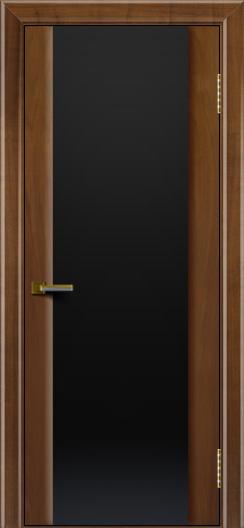 Двери ЛайнДор Камелия американский орех тон 23 стекло Черное