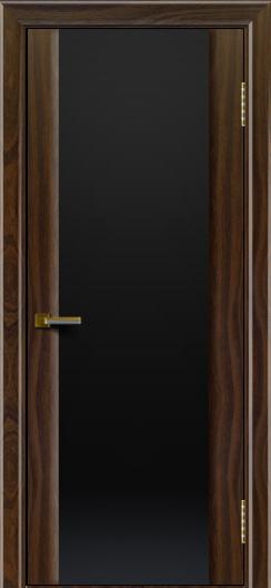 Двери ЛайнДор Камелия американский орех тон 25 стекло Черное