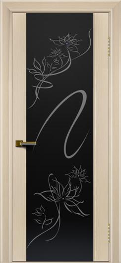 Двери ЛайнДор Камелия беленый дуб тон 16 стекло рис. Камелия