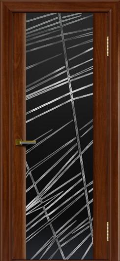 Двери ЛайнДор Камелия красное дерево тон 10 стекло Графит