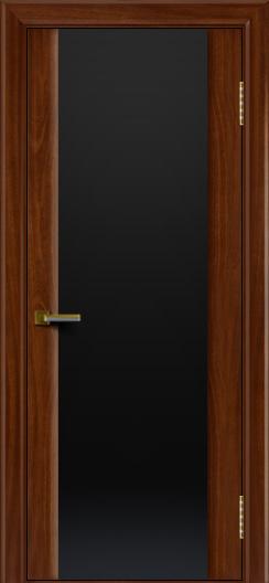 Двери ЛайнДор Камелия красное дерево тон 10 стекло Черное