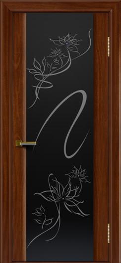 Двери ЛайнДор Камелия красное дерево тон 10 стекло рис. Камелия