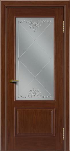 Двери ЛайнДор Кантри вишня тон 6 стекло Узор