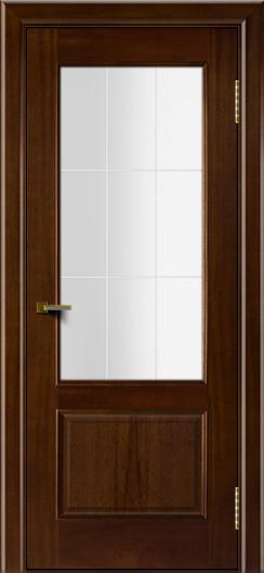 Двери ЛайнДор Кантри красное дерево тон 10 стекло Решетка