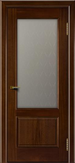 Двери ЛайнДор Кантри красное дерево тон 10 стекло Ромб