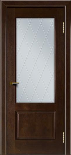 Двери ЛайнДор Кантри красное дерево тон 18 стекло Лондон