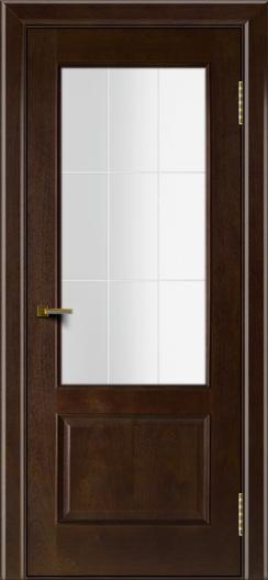 Двери ЛайнДор Кантри красное дерево тон 18 стекло Решетка