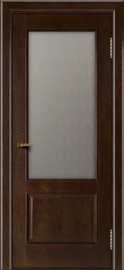 Двери ЛайнДор Кантри красное дерево тон 18 стекло Ромб