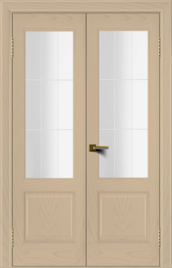 Двери ЛайнДор Кантри ясень тон 3 двухстворчатая стекло Решетка