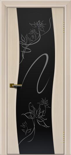 Двери ЛайнДор Лайма беленый дуб тон 16 стекло рис. Камелия