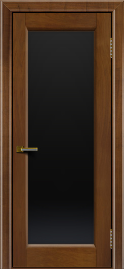 Двери ЛайнДор Мальта американский орех тон 23 стекло черное