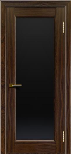 Двери ЛайнДор Мальта американский орех тон 25 стекло черное