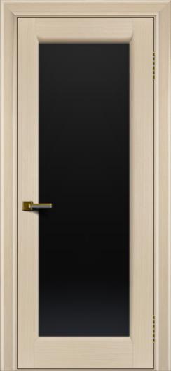Двери ЛайнДор Мальта беленый дуб тон 16 стекло черное