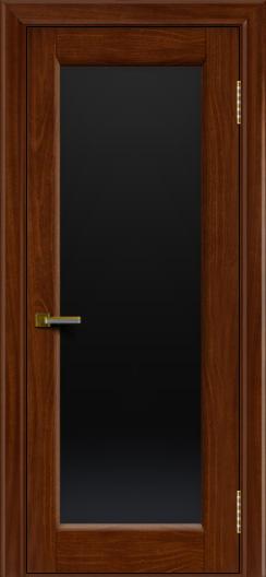 Двери ЛайнДор Мальта красное дерево тон 10 стекло черное