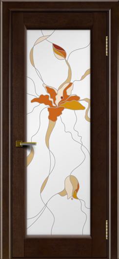 Двери ЛайнДор Мальта красное дерево тон 18 Витраж