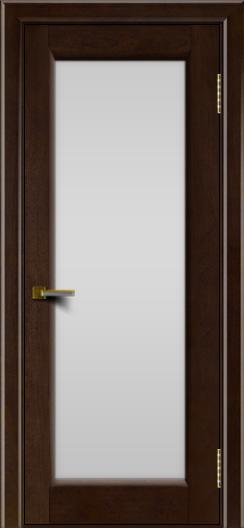 Двери ЛайнДор Мальта красное дерево тон 18 стекло белое