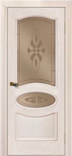 Двери ЛайнДор Оливия ясень жемчуг тон 27 стекло Византия бронза