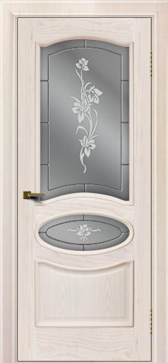 Двери ЛайнДор Оливия ясень жемчуг тон 27 стекло Рим