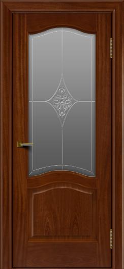 Двери ЛайнДор Пронто красное дерево тон 10 стекло Амелия