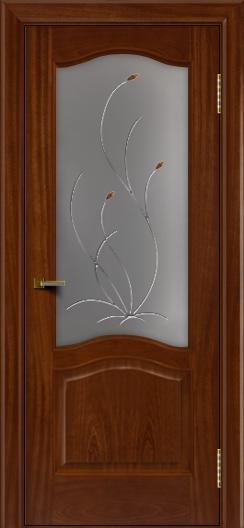 Двери ЛайнДор Пронто красное дерево тон 10 стекло Ковыль