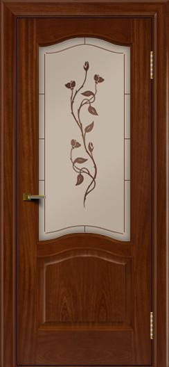 Двери ЛайнДор Пронто красное дерево тон 10 стекло Маки