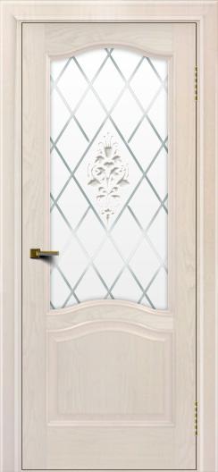 Двери ЛайнДор Пронто ясень жемчуг тон 27 стекло Лилия