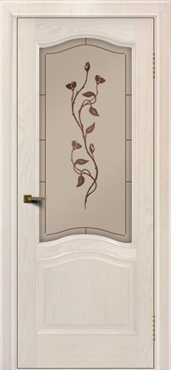Двери ЛайнДор Пронто ясень жемчуг тон 27 стекло Маки