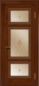 Двери ЛайнДор Афина красное дерево тон 10 стекло Лилия бронза
