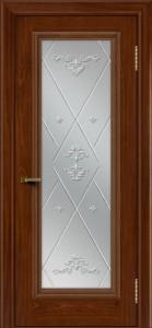 Двери ЛайнДор Валенсия красное дерево тон 10 стекло Прима