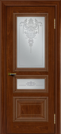 Двери ЛайнДор Агата красное дерево тон 10 стекло Версаль