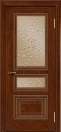 Двери ЛайнДор Агата красное дерево тон 10 стекло Прима бронза