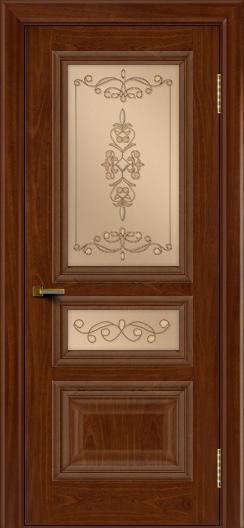 Двери ЛайнДор Агата красное дерево тон 10 стекло Эрика