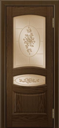 Двери ЛайнДор Алина 2 тон 35 стекло 3Д Роза бронза