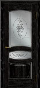 Двери ЛайнДор Алина 2 эмаль черная тон 26 стекло 3Д Роза