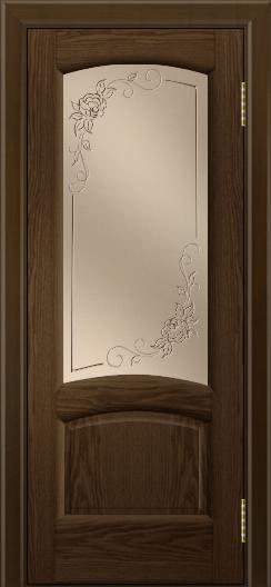 Двери ЛайнДор Анталия 2 тон 35 стекло 3Д Роза бронза